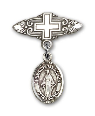 Pin Badge with Our Lady of Lebanon Charm and Badge Pin with Cross - Silver tone
