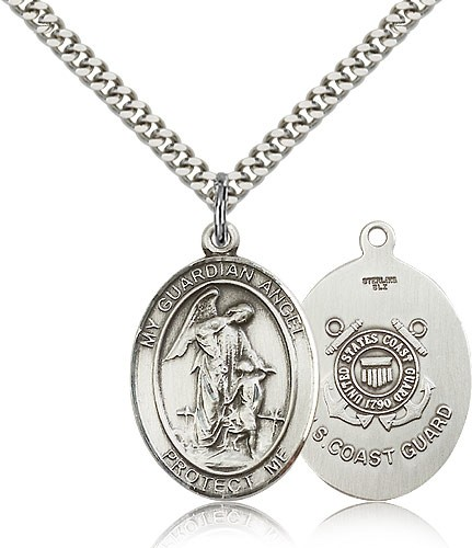 Guardian Angel Coast Guard Medal - Sterling Silver