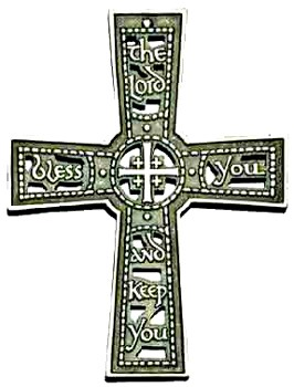 The Lord Bless You and Keep You Wall Cross - 4.75 inches - Pewter