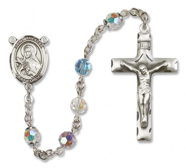 St. Theresa Sterling Silver Heirloom Rosary Squared Crucifix - Multi-Color