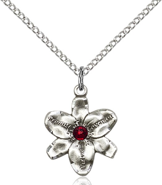 Small Five Petal Chastity Pendant with Birthstone Center - Garnet