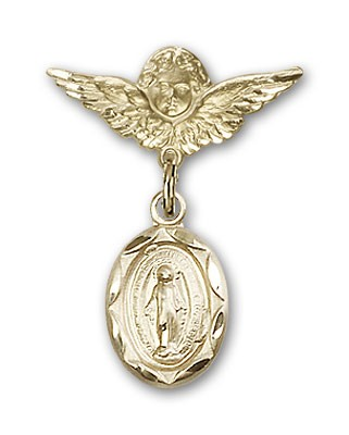 Baby Pin with Miraculous Charm and Angel with Smaller Wings Badge Pin - 14K Yellow Gold