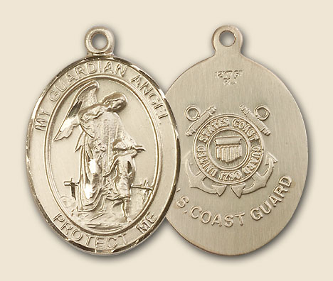 Guardian Angel Coast Guard Medal - 14K Solid Gold
