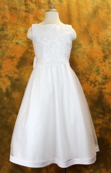 Plus Size First Communion Dress with Beaded Satin and Shawl - White