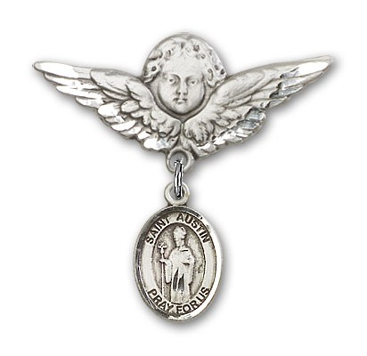 Pin Badge with St. Austin Charm and Angel with Larger Wings Badge Pin - Silver tone