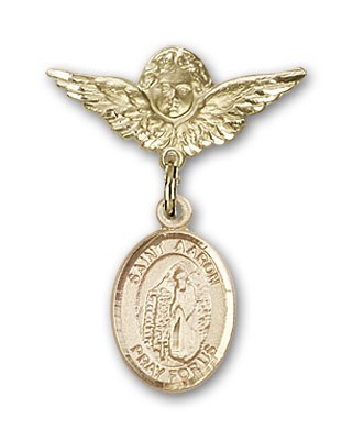 Pin Badge with St. Aaron Charm and Angel with Smaller Wings Badge Pin - 14K Yellow Gold
