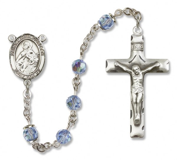 St. Maria Goretti Sterling Silver Heirloom Rosary Squared Crucifix - Light Sapphire