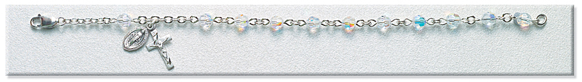 Rosary Bracelet - Sterling Silver with 5mm Crystal Swarovski Beads - Crystal