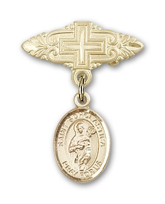 Pin Badge with St. Scholastica Charm and Badge Pin with Cross - 14K Solid Gold