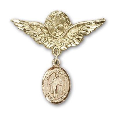 Pin Badge with St. Justin Charm and Angel with Larger Wings Badge Pin - 14K Yellow Gold