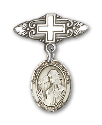 Pin Badge with St. Finnian of Clonard Charm and Badge Pin with Cross - Silver tone
