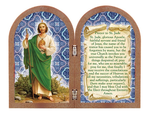 St. Jude Diptych Standing Prayer Plaque - Full Color