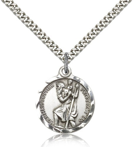 Textured Border St. Christopher Necklace - Nickel Size - Sterling Silver