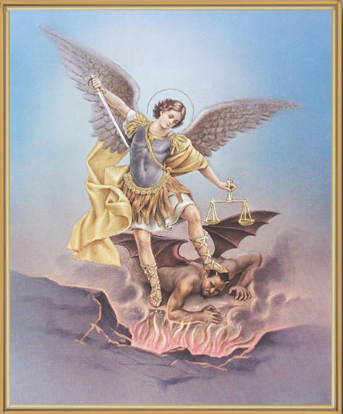 St. Michael Gold Framed Print - Full Color
