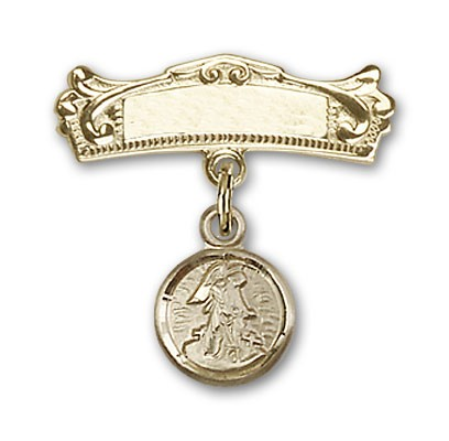 Baby Pin with Guardian Angel Charm and Arched Polished Engravable Badge Pin - Gold Tone