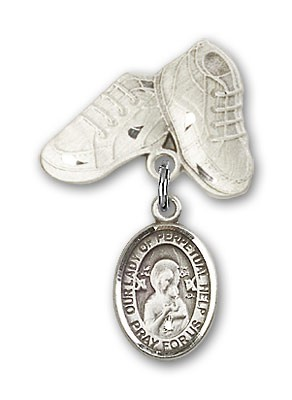 Baby Badge with Our Lady of Perpetual Help Charm and Baby Boots Pin - Silver tone