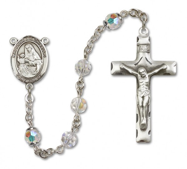 St. Madonna Del Ghisallo Sterling Silver Heirloom Rosary Squared Crucifix - Crystal