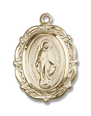 Floret Border Miraculous Medal Necklace - 14K Solid Gold