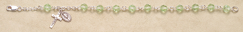Rosary Bracelet - Sterling Silver with Chysolite Swarovski Beads - Green Mist