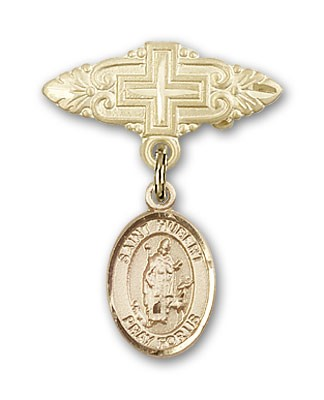 Pin Badge with St. Hubert of Liege Charm and Badge Pin with Cross - 14K Solid Gold
