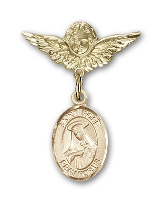 Pin Badge with St. Rose of Lima Charm and Angel with Smaller Wings Badge Pin - 14K Solid Gold