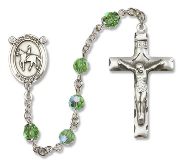 St. Kateri Rosary with Equestrian Heirloom Squared Crucifix - Peridot