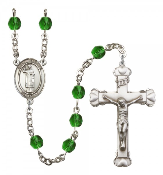 Women's St. Stephen the Martyr Birthstone Rosary - Emerald Green