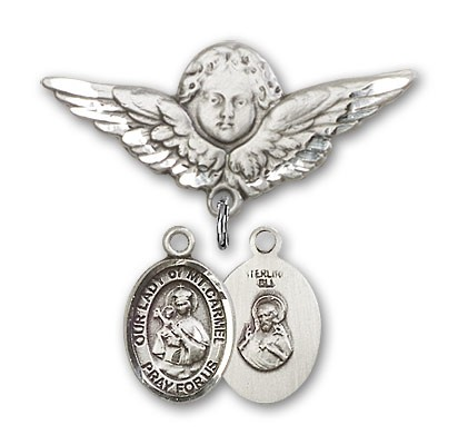 Pin Badge with Our Lady of Mount Carmel Charm and Angel with Larger Wings Badge Pin - Silver tone