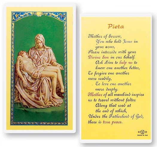 Pieta Mother of Sorrow Laminated Prayer Cards 25 Pack - Full Color