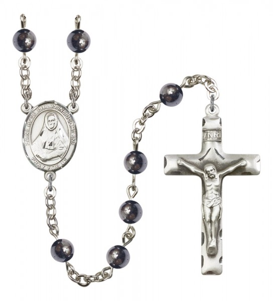 Men's St. Rose Philippine Duchesne Silver Plated Rosary - Gray
