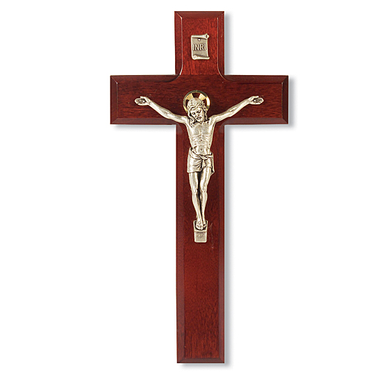 Dark Cherry Wood Crucifix - 9 inch - Cherry Wood