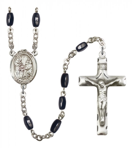 Men's St. Zita Silver Plated Rosary - Black | Silver