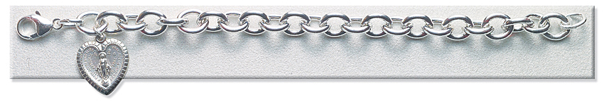Bracelet - Extra Heavy Sterling Silver with Miraculous Charm - Sterling Silver