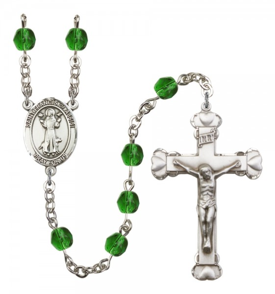 Women's St. Francis of Assisi Birthstone Rosary - Emerald Green