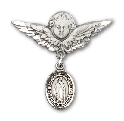Pin Badge with St. Bartholomew the Apostle Charm and Angel with Larger Wings Badge Pin - Silver tone