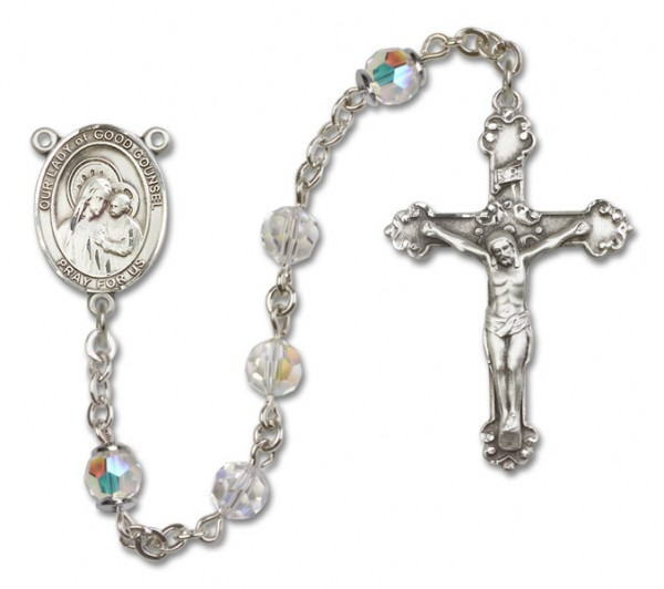 Our Lady of Good Counsel Sterling Silver Heirloom Rosary Fancy Crucifix - Crystal
