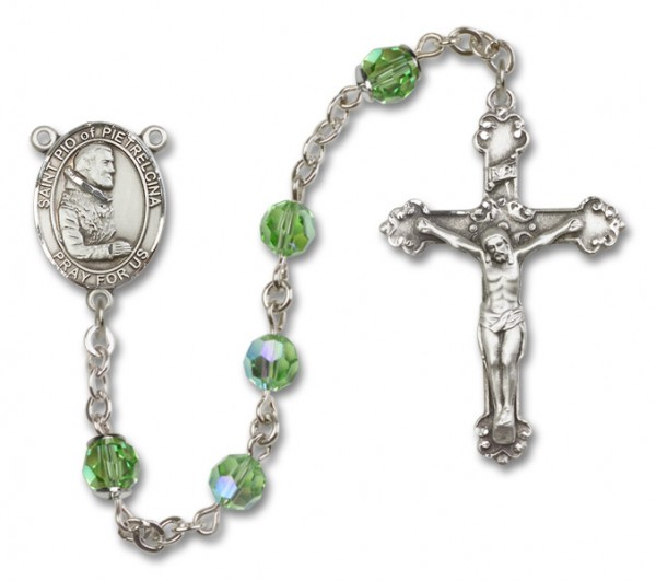 St. Pio of Pietrelcina Sterling Silver Heirloom Rosary Fancy Crucifix - Peridot