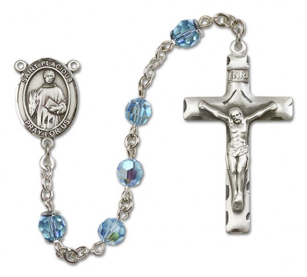 St. Placidus Sterling Silver Heirloom Rosary Squared Crucifix - Aqua