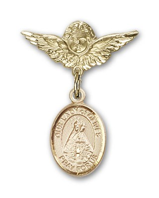 Pin Badge with Our Lady of Olives Charm and Angel with Smaller Wings Badge Pin - 14K Yellow Gold