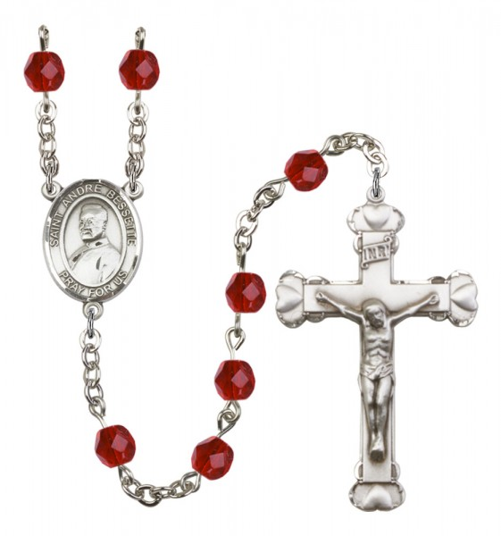 Women's St. Andre Bessette Birthstone Rosary - Ruby Red