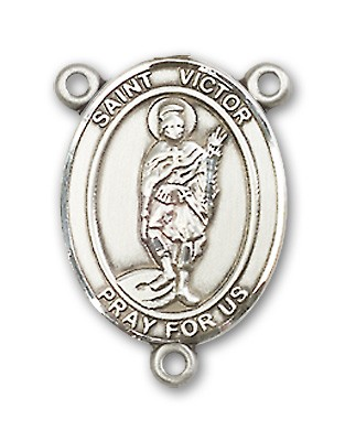 St. Victor of Marseilles Rosary Centerpiece Sterling Silver or Pewter - Sterling Silver