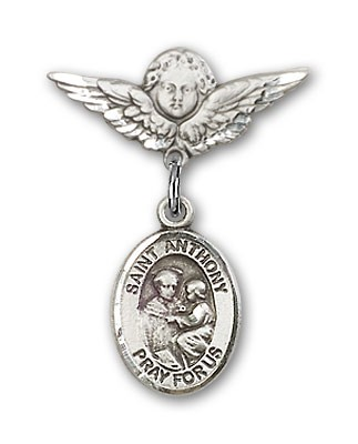 Pin Badge with St. Anthony of Padua Charm and Angel with Smaller Wings Badge Pin - Silver tone