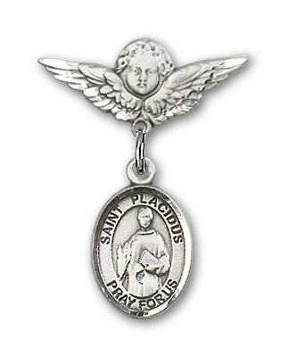 Pin Badge with St. Placidus Charm and Angel with Smaller Wings Badge Pin - Silver tone