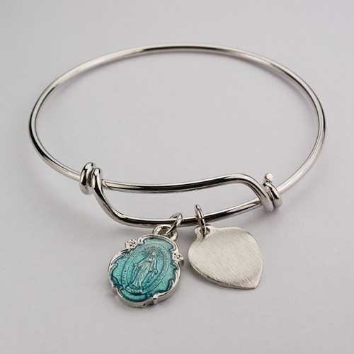 Girl's Blue Miraculous Bangle Bracelet Engravable Heart Charm - Silver