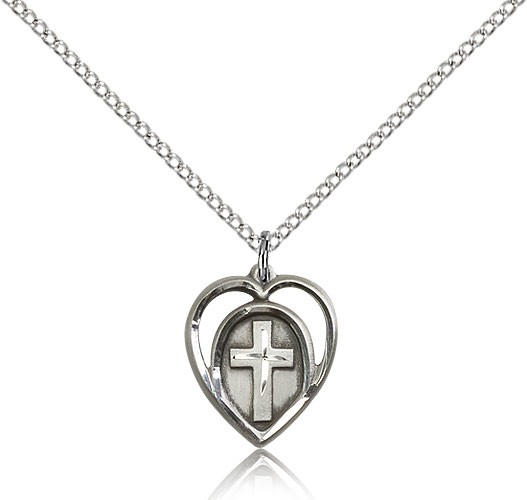 Cross in a Heart Pendant - Sterling Silver