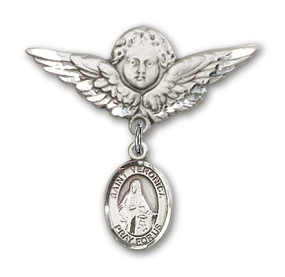 Pin Badge with St. Veronica Charm and Angel with Larger Wings Badge Pin - Silver tone