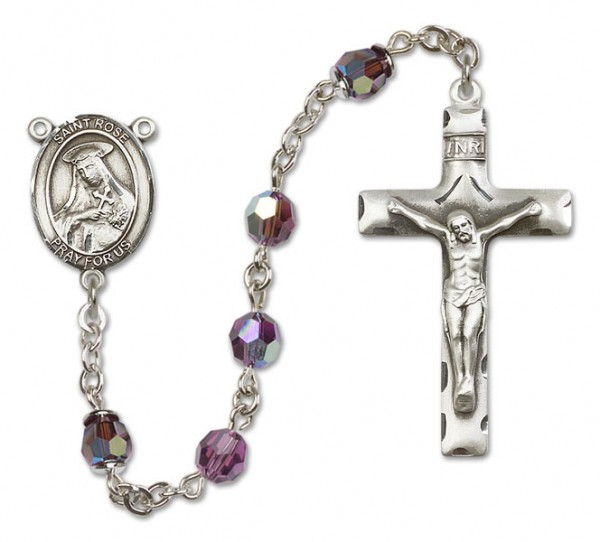 St. Rose of Lima Sterling Silver Heirloom Rosary Squared Crucifix - Amethyst