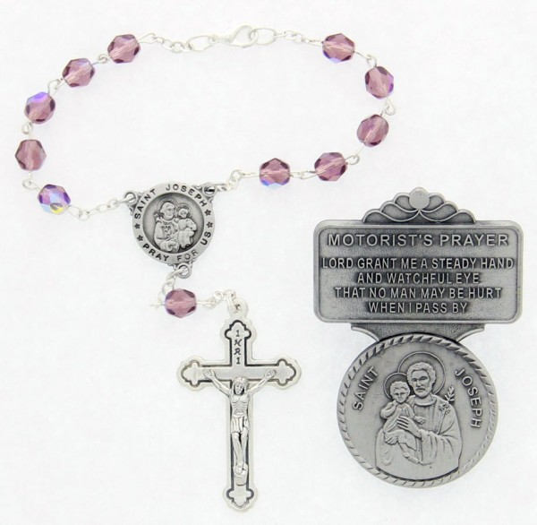 St. Joseph Matching Auto Rosary and Visor Clip Set, Pewter, 7mm glass beads - Silver