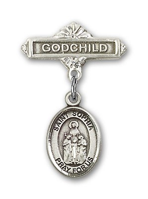 Pin Badge with St. Sophia Charm and Godchild Badge Pin - Silver tone