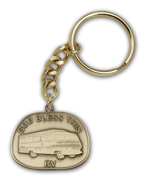 God Bless This RV Keychain - Antique Gold